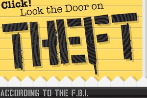 illustration of text 'lock the door on theft'