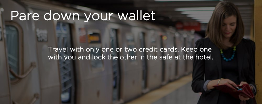 a woman in a subway station with text 'pare down your wallet'