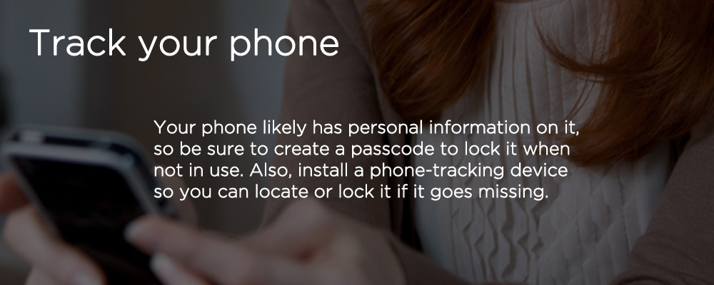 hands holding a smartphone with text 'tack your phone'