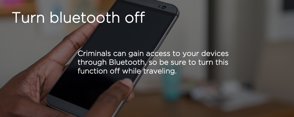 a smartphone with text 'turn Bluetooth off'
