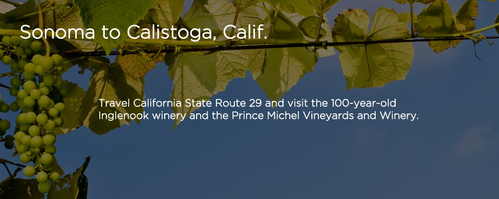 an image with text 'Sonoma to Calistoga, Calif.'