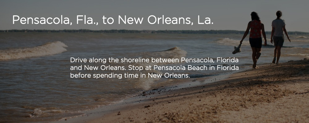 people an a beach with text 'Pensacola FL to New Orleans LA'