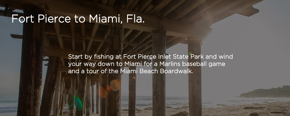 Image of a pier with text 'Fort Pierce to Miami FL'