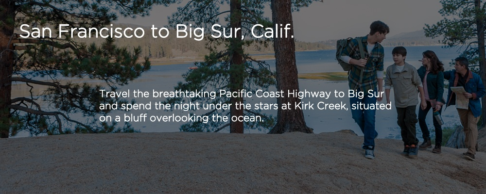 an image with text 'San Francisco to Big Sur, Calif.'