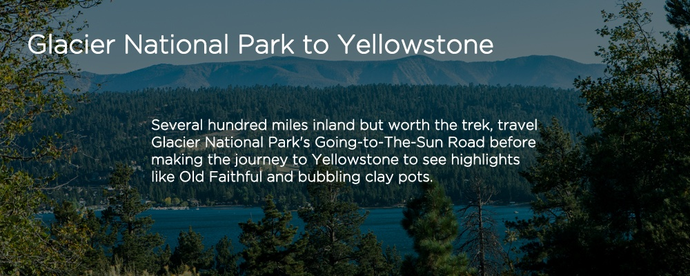 an image with text 'Glacier National Park to Yellowstone'