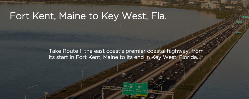 cars on a highway with text 'Miami to Key West, FL'