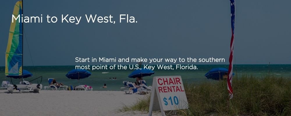 a beach with text 'Miami to Key West, FL'