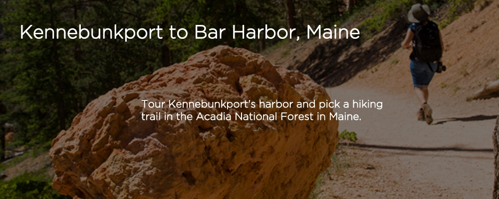 a person hiking with text 'Kennebunkport to Bar Harbor, ME'