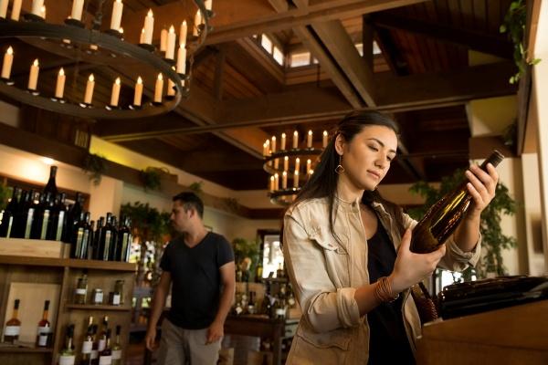 woman browsing wine