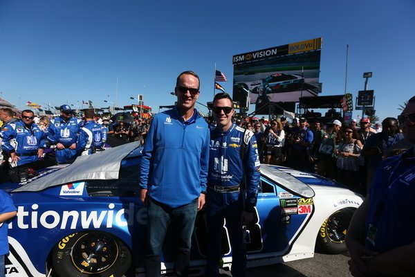 Peyton Manning and Alex Bowman at Daytona 500