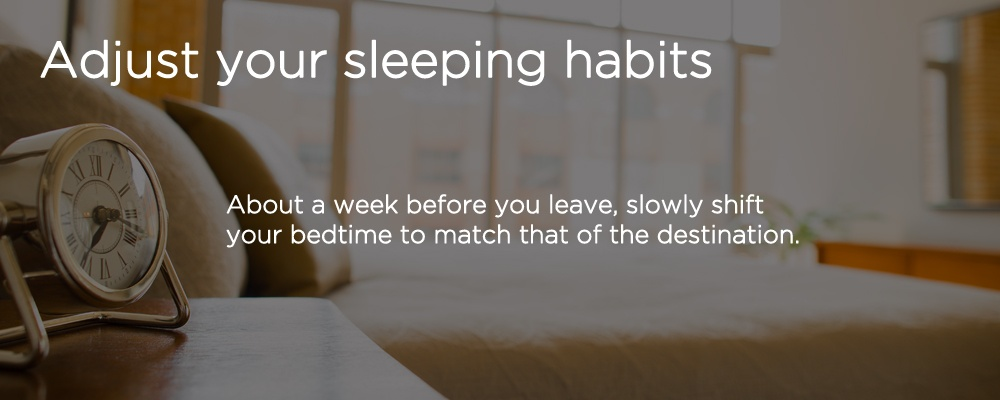 a bed with text 'adjust your sleeping habits'