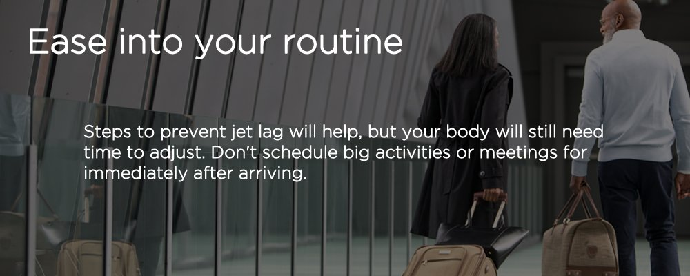 two people carrying luggage with text 'ease into your routine'