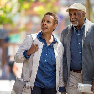 Seniors walking on the street