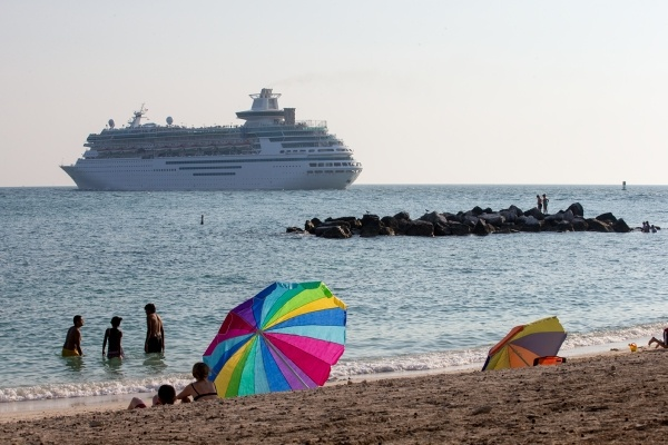view of cruise liner from beach