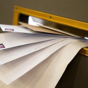 envelopes in mail slot