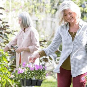 women in garden