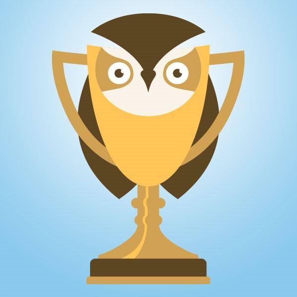 Golden owl trophy graphic