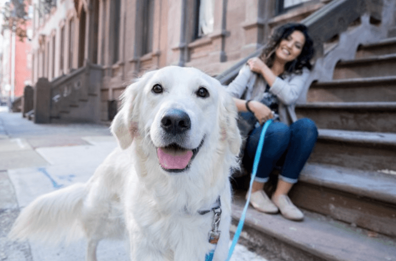 Woman sitting on steps with dog on leash