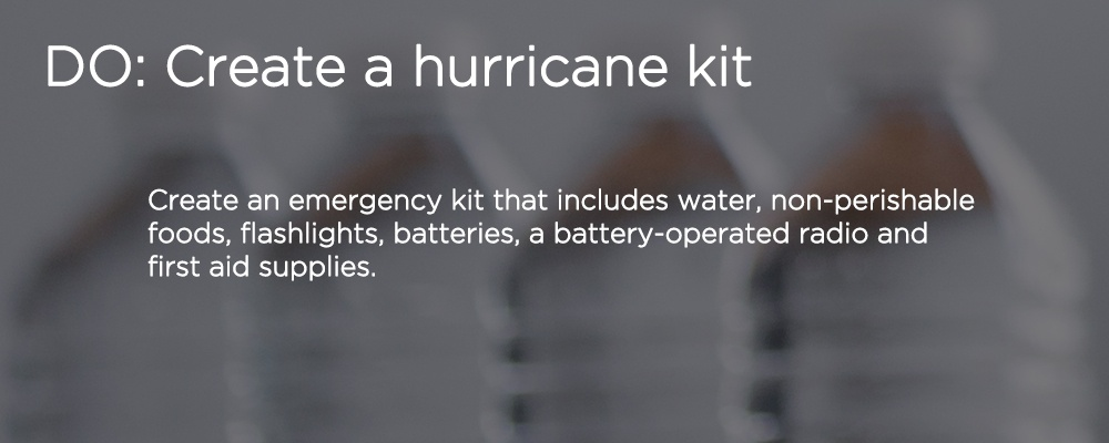 "water bottles with text ""DO: create a hurricane kit"""
