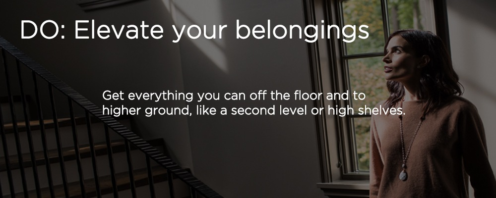 "a staircase with text ""DO: elevate your belongings"""
