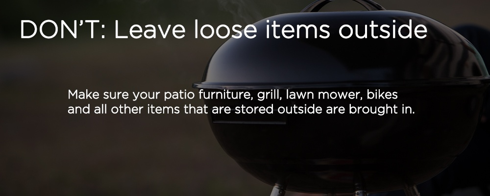 "a grill with text ""DON'T: Leave loose items items"""