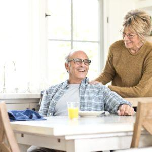 retired couple in their house