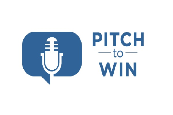 illustration of a microphone with text 'pitch to win'