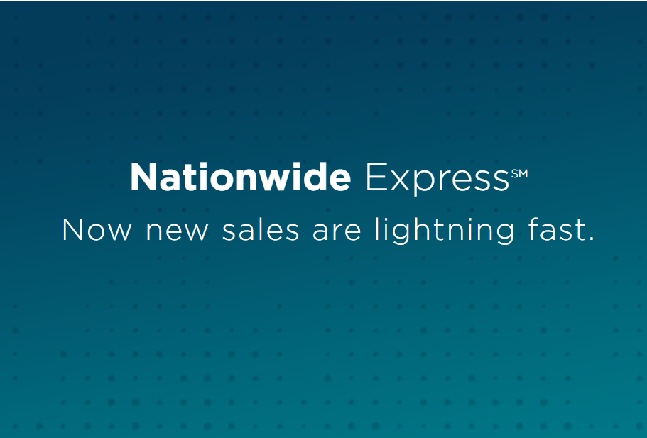 illustration of text 'Nationwide Express now new sales are lighting fast'