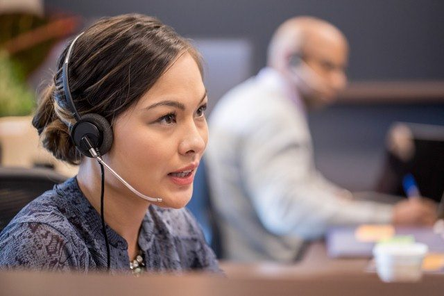 a person working in a call center