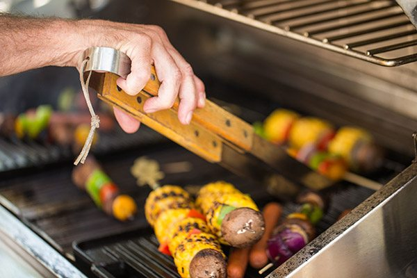 food cooking on a grill