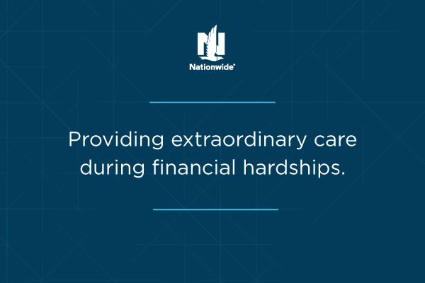 nationwide logo with text below 'providing extraordinary care during financial hardships.'