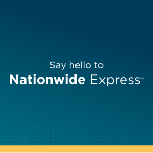 image of text 'say hello to Nationwide Express SM'