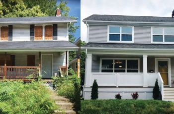 Before and after of a revitalized home on Columbus' south side
