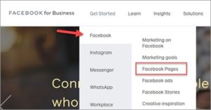 Facebook screenshot of menu