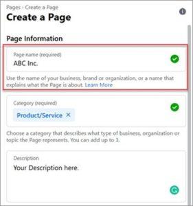 Facebook create a page screenshot