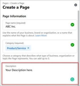Facebook create a page screenshot