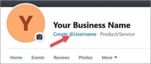 Facebook vanity URL screenshot