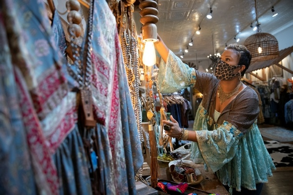 a woman shopping in a store